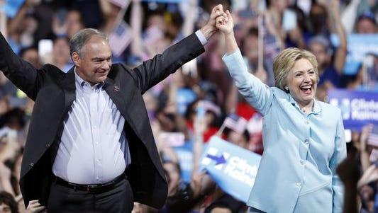 Hillary Clinton and running mate Tim Kaine