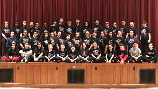 """Beauty and the Beast Jr.""  Vineland All Middle School Productions cast photo."