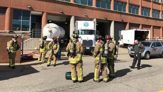 About a dozen people were sent to the hospital Wednesday after a suspected Freon leak at the Kellogg Co. headquarters in Battle Creek.
