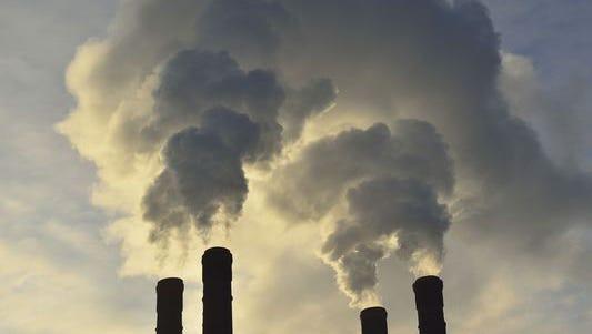 Factory smokestacks.