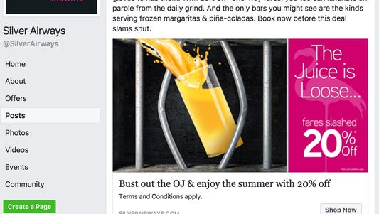 """Silver Airways is offering a """"Juice is Loose"""" promotion following the Nevada parole board's decision to grant O.J. Simpson parole after nine years in prison."""
