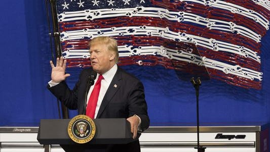 President Donald Trump speaks during a visit to Snap-on Tools in Kenosha, WI