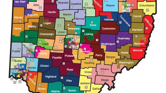 These Ohio House districts were adopted in 2012. Critics have said the map represents gerrymandering that heavily favors Republicans, and the legislature is working on bills to amend the redistricting process.