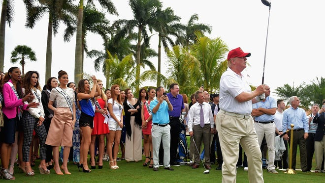 Donald Trump attends the opening of Red Tiger Golf Course at Trump National Doral Miami on Jan. 12 in Doral, Fla.