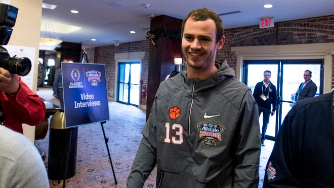 Clemson wide receiver Hunter Renfrow (13) arrives at a press conference in New Orleans, La. on Friday December 29, 2017. (Mickey Welsh / Montgomery Advertiser)