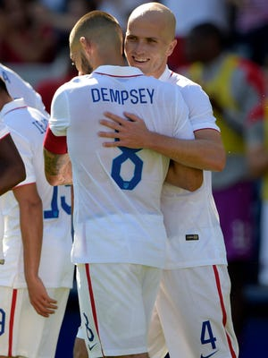 United States midfielders Michael Bradley and Clint Dempsey celebrate after a goal in the first half against Panama at StubHub Center in February.