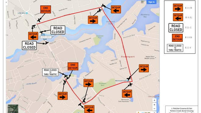Map shows detour routes around the Parker Creek Bridge closure. The bridge is expected to be closed for three weeks for a NJ American Water project.