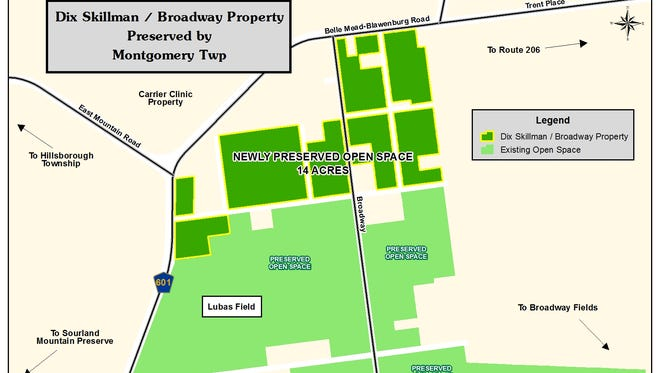 The 13.5-acre Dix Skillman/Hillmont tract near Route 601 and Broadway Fields is being purchased for open space by Montgomery Township.