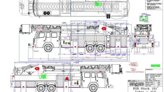 Blueprints of the city of Tiffin's new fire truck show what the vehicle will look like.