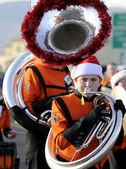 Sophomore Cody Malloy marches with the Fernley High