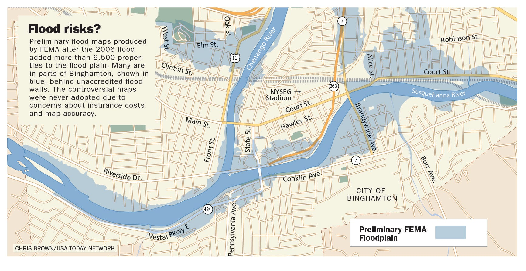 Binghamton flood maps flood wall and levees may be inadequate