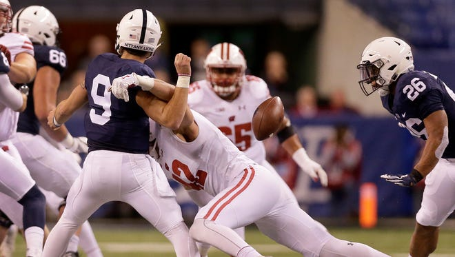 Badgers linebacker T.J. Watt  hits Penn State quarterback Trace McSorley, forcing a fumble recovered by the Badgers in the second quarter.
