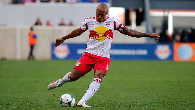 New York Red Bulls forward Thierry Henry (14) plays during the first half against FC Dallas at Red Bull Arena on Sept. 22.