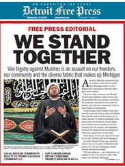 Detroit Free Press' 1A on Dec. 9, 2015