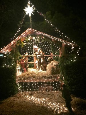 The Baby Jesus statue from this nativity scene, placed along Route 46 outside St. Peter the Apostle Church, was stolen some time after Christmas.