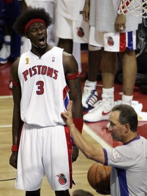 Detroit's Ben Wallace reacts to a charging foul called on him during 2nd quarter action between the Detroit Pistons and the San Antonio Spurs in game 4 of the 2005 NBA finals on Thursday June 16, 2005 at the Palace of Auburn Hills in Auburn Hills, MI. _ERIC SEALS/Detroit Free Press