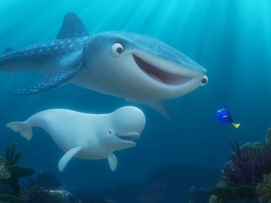 Destiny voiced by Kaitlin Olson, top, Bailey, a beluga