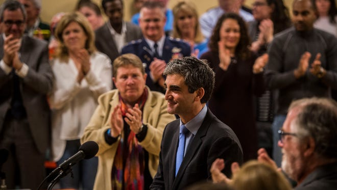Mayor Miro Weinberger concludes his State of the City address at Burlington City Hall Monday night, April 3, 2017.