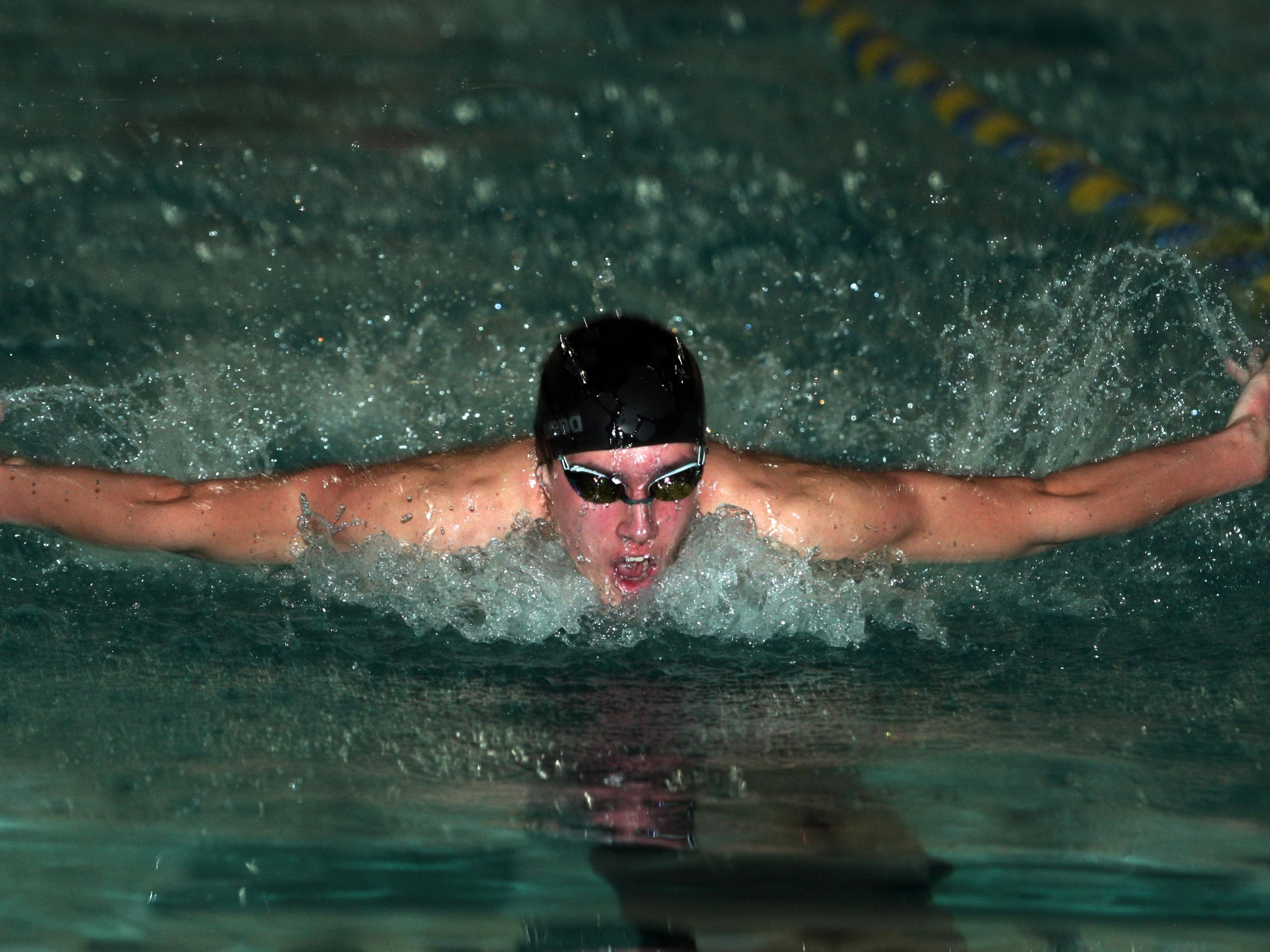 Morristown freshman Owen Breslin swims the butterfly during the 200-meter IM at the U&ME Invitational.