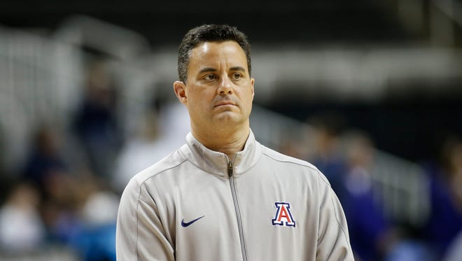 March 22, 2017: Arizona Wildcats head coach Sean Miller during practice the day before the West Regional semifinals of the 2017 NCAA Tournament at SAP Center.