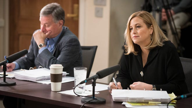 Mayor Megan Barry and Chief Operating Officer Rich Riebeling participate in a budget hearing with the Arts Commission at the Metro Courthouse on March 25, 2016. Four of the last five bonds issued by Metro agencies have been underwritten by Piper Jaffray, which employs Riebeling's son.