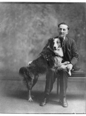 Bobbie the Wonder Dog with his owner, Frank Brazier, after his return to Silverton.