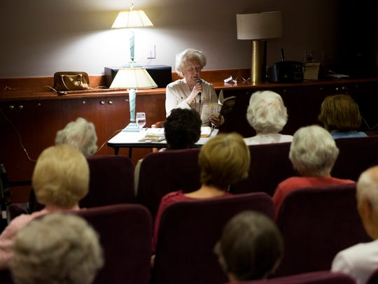 """Dorothy Jane Mills, 89, discusses """"Don't Admit You're in Assisted Living"""" on Monday at The Carlisle Naples."""