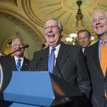 Senate Republicans, most vocally Senate Majority Leader Mitch McConnell of Kentucky (center) are facing a high-stakes political showdown with President Barack Obama sparked by the recent death of Supreme Court Justice Antonin Scalia.