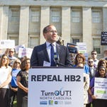 Chad Griffin, president of Human Rights Campaign, speaks at a press conference during TurnOUT! NC, a joint project to mobilize LGBT and pro-equality North Carolinians to deliver tens of thousands of signatures calling for the repeal of House Bill 2 to the office of Gov. Pat McCrory April 25.