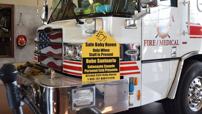 Safe Baby Haven providers can be identified by new yellow stickers attached to Mesa vehicles.