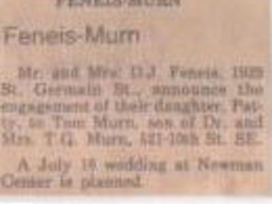 Anniversaries: Tom Murn & Patty Murn