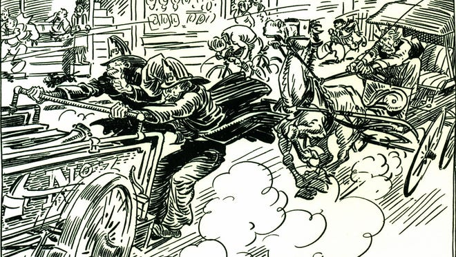 Nationally syndicated artist Gaar Williams drew scenes from the latter part of 19th century memorializing growing up in Richmond. This particular action-packed drawing shows the lengths newspapermen went to cover local fires. One of today's stories is about a Richmond newspaper editor, and a mishap that occurred at what is now North Eighth and E Street.