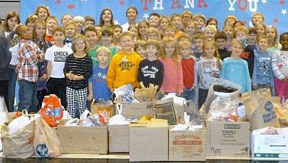 Last year 954 pounds of candy was collected for the troops overseas by students at J.F. Burns Elementary School. This year's goal is 1,000 pounds.