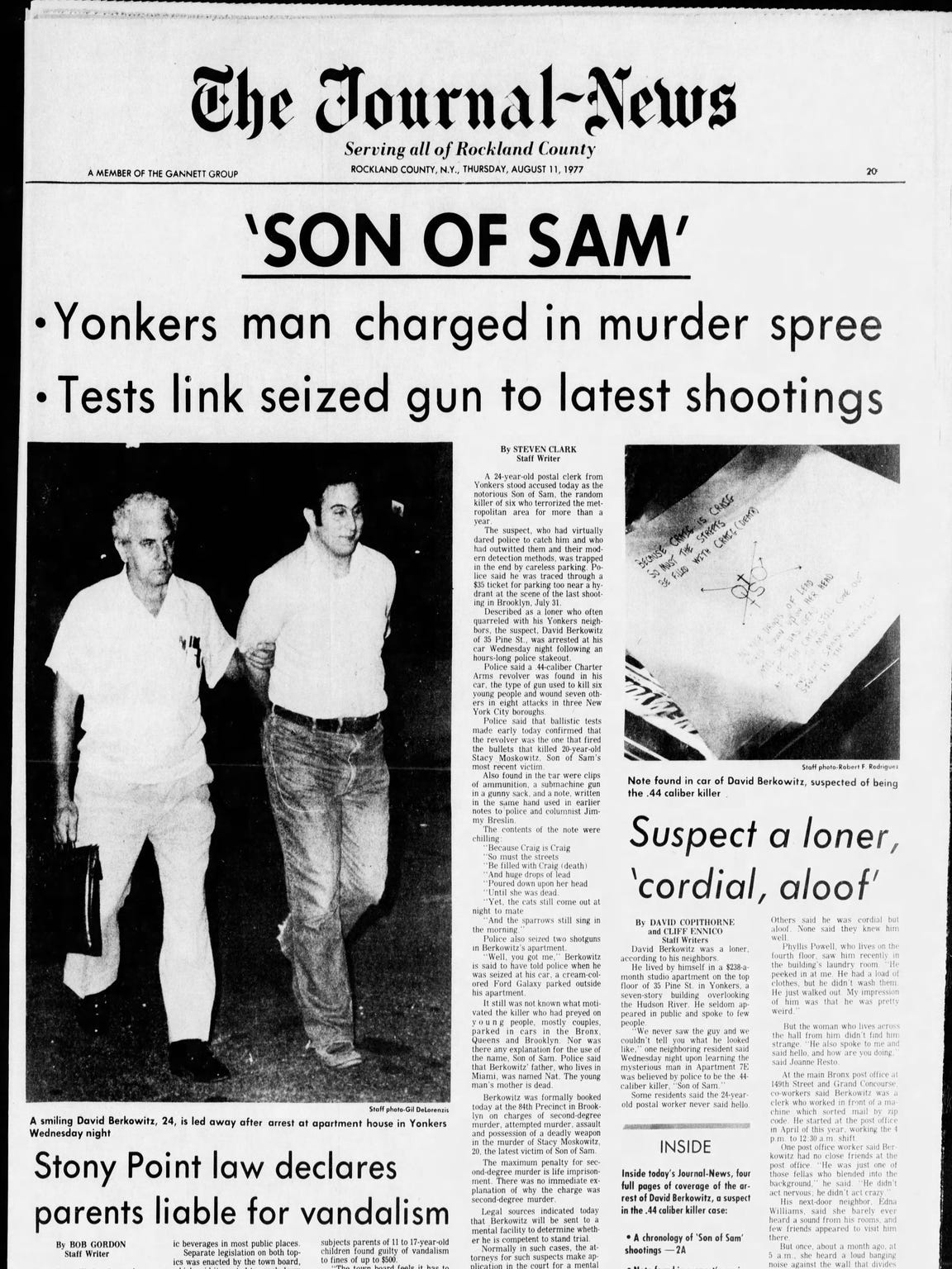 The front page of The Journal News from Aug. 11, 1977,