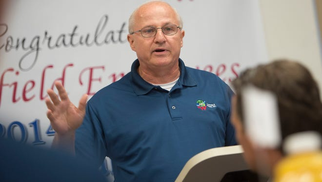 Les Massey, CEO of Whitfield Foods, speaks during a luncheon for employees on Wednesday in Montgomery. Whitfield won the 2014 PepsiCo Contract Manufacturer of the Year award for the second time on four years. The longtime local company makes Alaga Syrup, among other products.