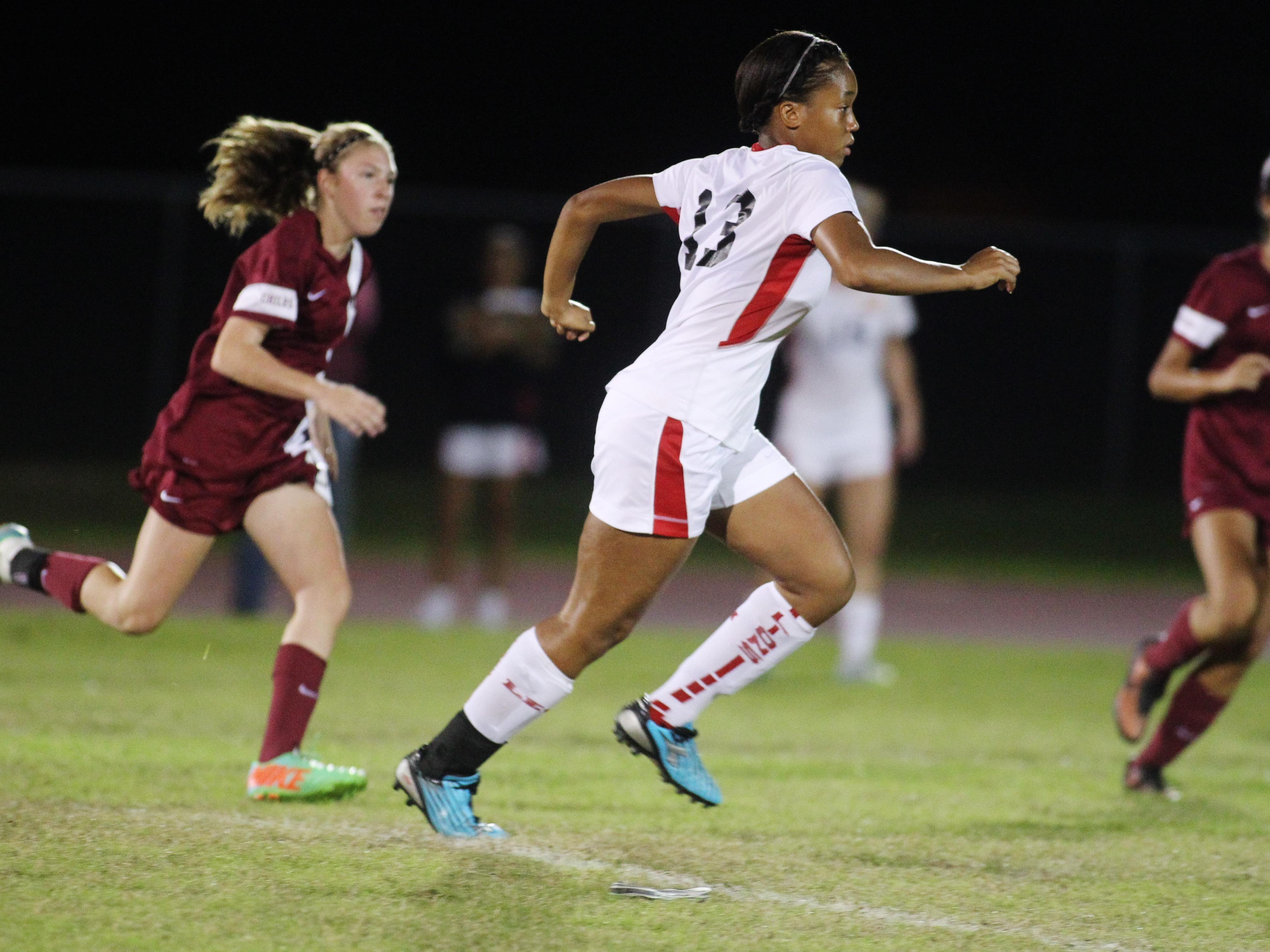 Leon defender Jennifer Shotwell-Long chases down a through ball in a game between Leon and Chiles on Tuesday night. The Lions won 3-0.
