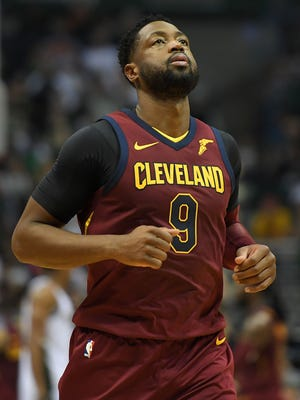 Dwyane Wade of the Cleveland Cavaliers walks backcourt during the first quarter of a game against the Milwaukee Bucks.