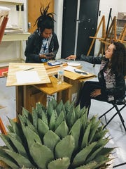 Students use the inspiration of the tribe's Mescal plant for their final art project of the year.