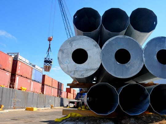 These are among the 60,000 power poles scheduled to be shipped from Port Canaveral to Puerto Rico.