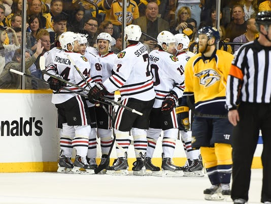 NHL: Stanley Cup Playoffs-Chicago Blackhawks at Nashville Predators
