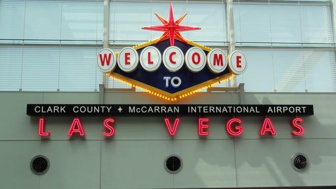 A welcome sign at Las Vegas McCarran International Airport.