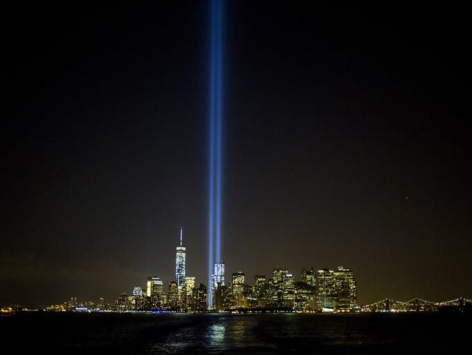 """The """"Tribute in Lights"""" shines in New York City. This year marks the 13th anniversary of the9/11terrorist attacks that killed nearly 3,000 people at the World Trade Center, Pentagon and on Flight 93."""