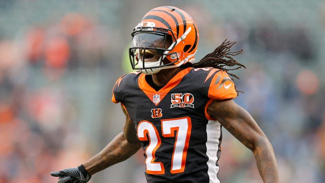 Cincinnati Bengals cornerback Dre Kirkpatrick (27) celebrates a defensive stop in the fourth quarter of the NFL Week 15 game between the Cincinnati Bengals and the Detroit Lions at Paul Brown Stadium in downtown Cincinnati on Sunday, Dec. 24, 2017. The Bengals took a 26-17 win over the Lions in the final home game of the season.