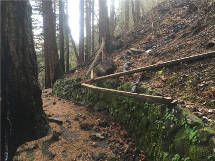 Damage to the trail above Multnomah Falls in the Columbia