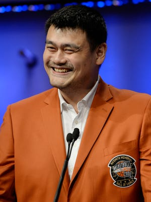 Yao Ming during a news conference at the Naismith Memorial Basketball Hall of Fame, Thursday, Sept. 8, 2016.