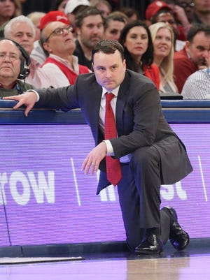 Hoosiers head coach Archie Miller watches during the first half against the Rutgers Scarlet Knights in a second round game of the 2018 Big Ten Tournament at Madison Square Garden.