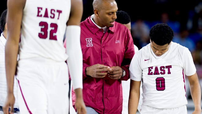 East coach Penny Hardaway has some words for Dee Merriweather during Friday's Class AAA semifinals at the Murphy Center. The Mustangs play Whitehaven on Saturday in what is expected to be his last game before taking over at the University of Memphis.