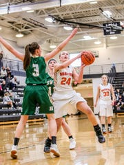 Brighton's Sophie Dziekan goes up for a shot while