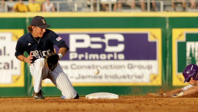 Rice shortstop Ford Proctor can't handle the throw as Cole Freeman steals second base on Sunday at Alex Box Stadium in the Baton Rouge Regional of the NCAA Division 1 Baseball Championship.