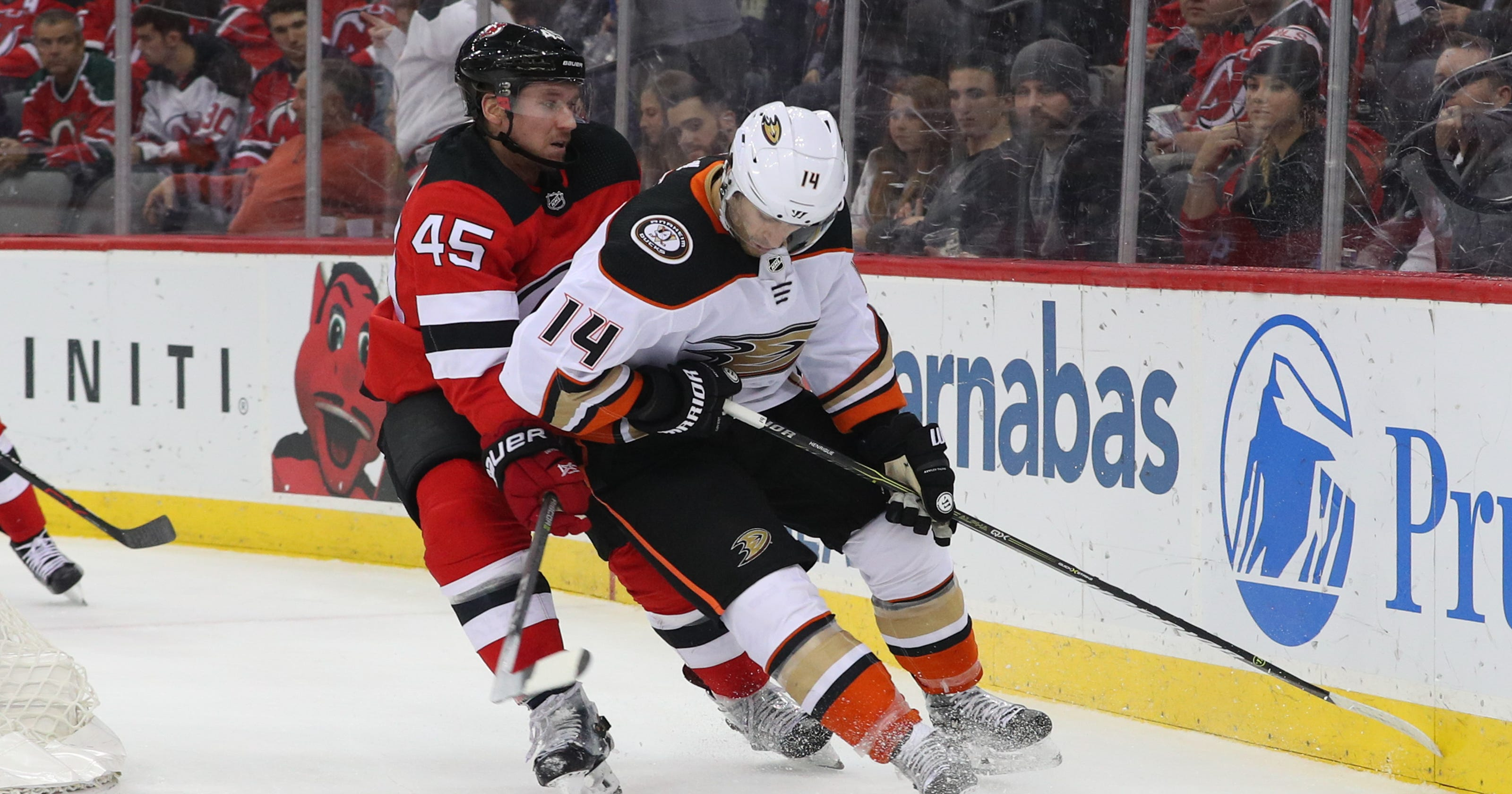 03590a962 Ducks  Adam Henrique scores nice goal vs. Devils around player he was traded  for